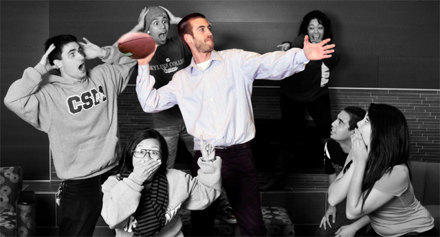 Bryan throwing the touchdown