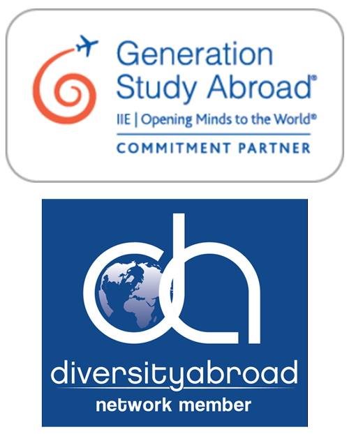 Logos for Generation Study Abroad, a commitment partner and diversityabroad